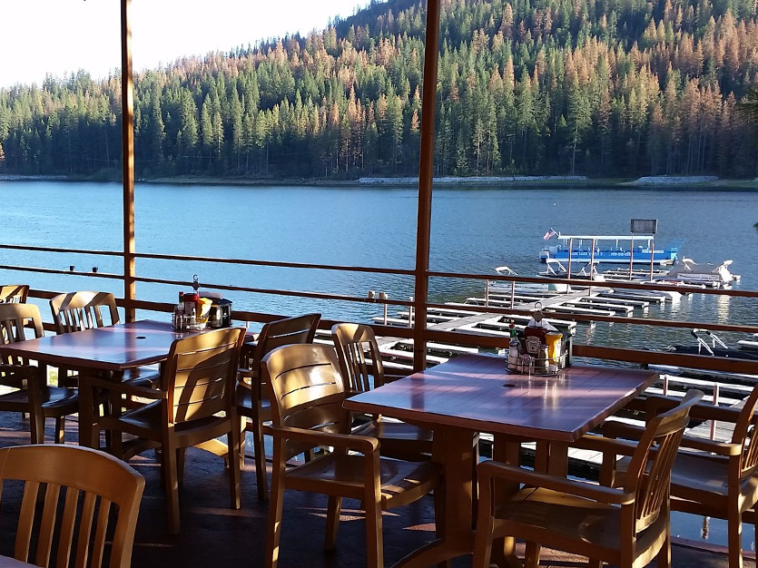 Outdoor Lakeside Patio at The Pines Resort, California
