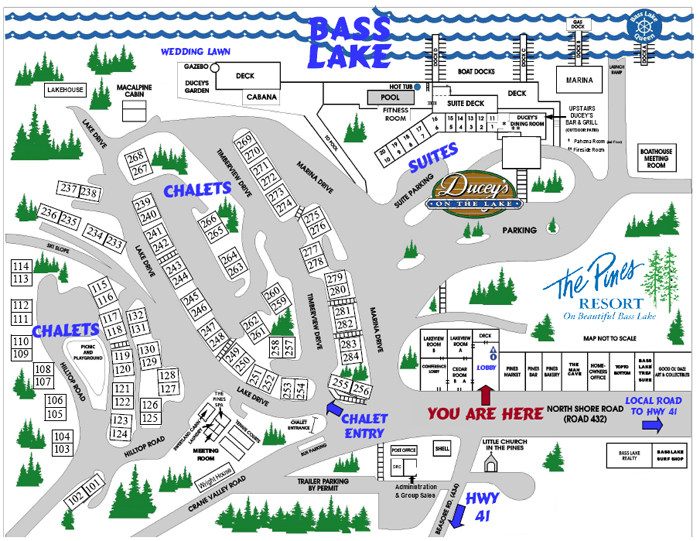 Pines Resort Property Map, Bass Lake